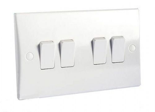 4 Gang 2 Way 10AX Switch GET Schneider GU1042 Ultimate Moulded White Plastic
